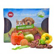 האו ומיאו אוכל טבעי לכלבים וחתולים מתכון בקר וירקות 3 ק''ג