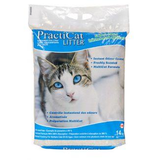 """חול לחתולים פרקטיקט מתגבש וריחני 14 ק""""ג PractiCat"""