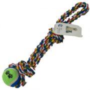 משחק לכלב חבל צבעוני עם לולאה + כדור 40 ס''מ